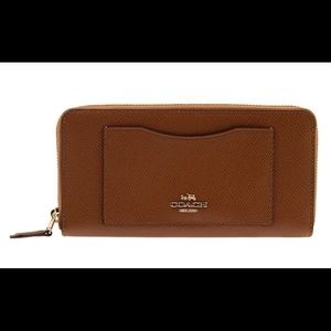 Coach crossgrain accordion zip wallet color saddle